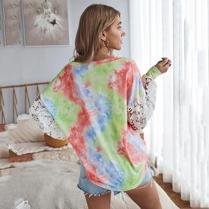 Cotton Candy Tie Dye Lace Long Sleeve Top